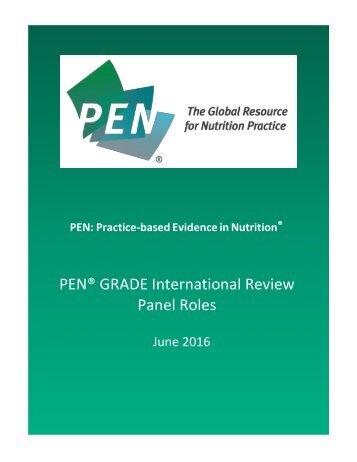 PEN® GRADE International Review Panel Roles