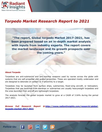 Torpedo Market- Growth, Type and Application; Trends Forecast to 2021 by Radiant Insights,Inc