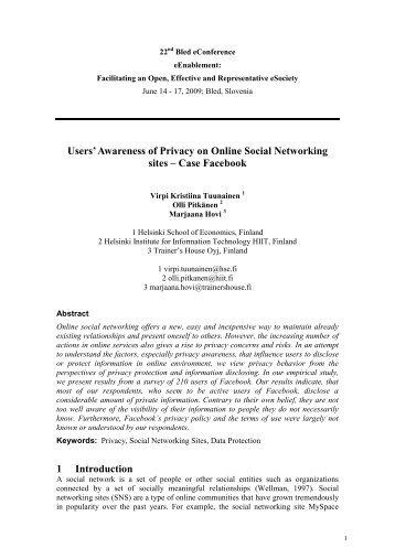 Users' Awareness of Privacy on Online Social Networking sites ...