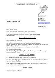 TENNIS - SAISON 2007 - Tennisclub Wiesenbach e.V.