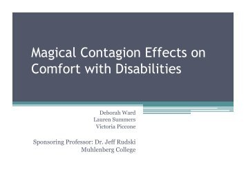 Magical Contagion Effects on Comfort with ... - deborah elaine ward