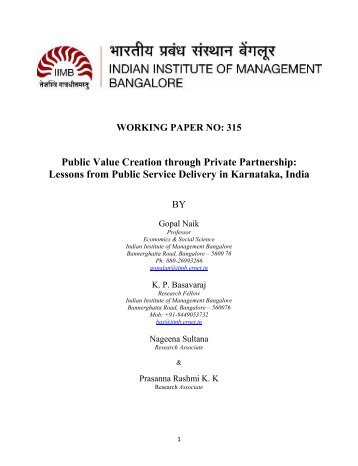Public Value Creation through Private Partnership - Indian  Institute ...