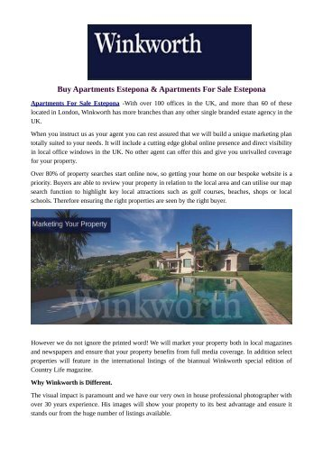 Buy Apartments Estepona & Apartments For Sale Estepona