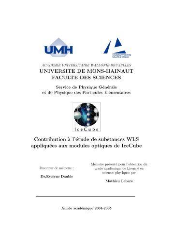 UNIVERSITE DE MONS-HAINAUT FACULTE DES SCIENCES - IIHE