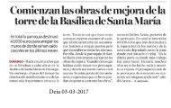 Comienzan las obras de mejora dela torre de la Basílica de SantaMaría