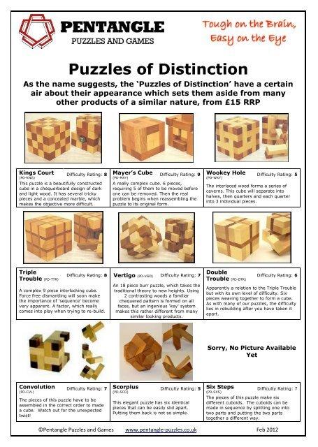 Puzzles of Distinction - Pentangle Puzzles