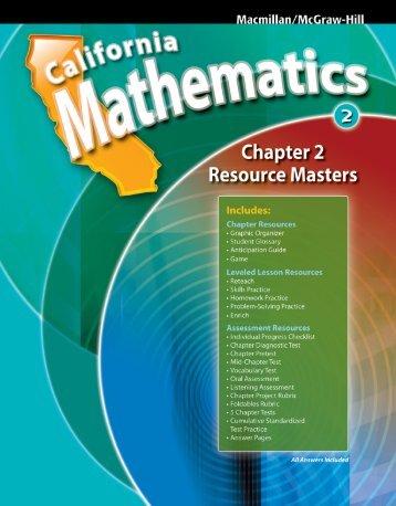 Chapter 2 Resource Masters - Macmillan/McGraw-Hill