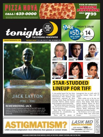 LINEUP FOR TIFF STAR-STUDDED - tonight Newspaper