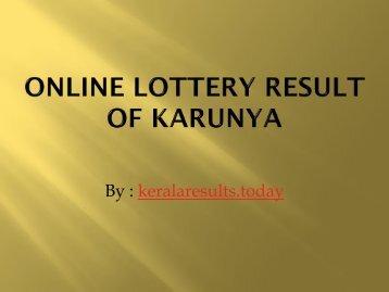 Online Lottery Result of karunya