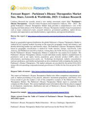 Forecast Report - Parkinson's Disease Therapeutics Market Size, Share, Growth & Worldwide, 2023: Credence Research