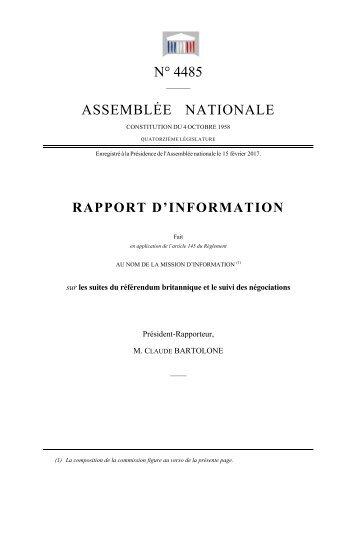 N MBLÉ RT D N° 44 ÉE N D'INF 485 NATI FOR IONA MAT ALE TION N