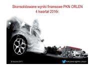 Skonsolidowane wyniki finansowe PKN ORLEN 4 kwartał 2016r