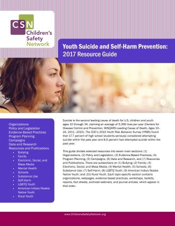Youth Suicide and Self-Harm Prevention 2017 Resource Guide
