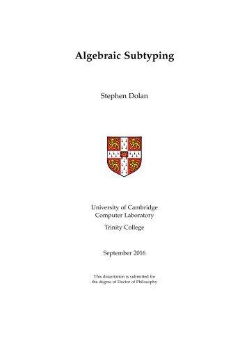 Algebraic Subtyping