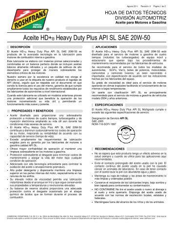 Aceite HD+® Heavy Duty Plus API SL SAE 20W-50 - Roshfrans