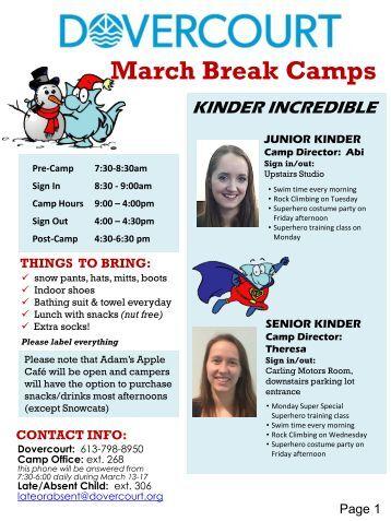 Dovercourt March Break Newsletter 2017