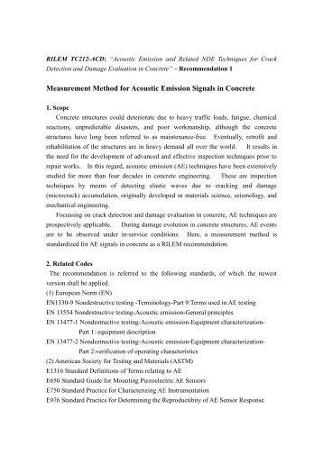 Measurement Method for Acoustic Emission Signals in Concrete - IfB