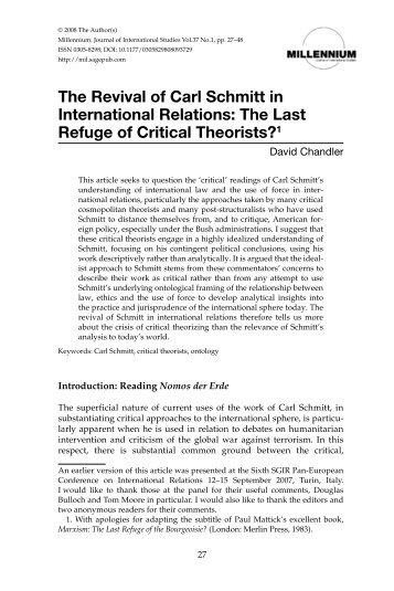 Carl Schmitt And Hans Morgenthau The Hidden Dialogue Part Ii