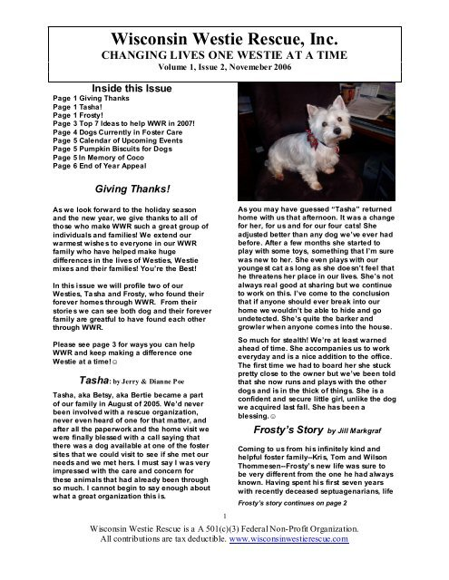 7 Ways Help WWR in 2007! - Wisconsin Westie Rescue