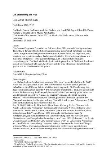 Die Erschaffung der Welt - Institut für Vergleichende Staat-Kirche ...