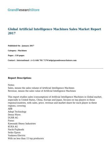 Global Artificial Intelligence Machines Sales Market Report 2017