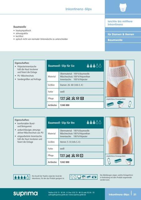 Inkontinenz - Slips - Suprima GmbH