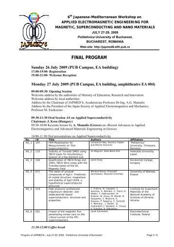final program - 6th Japanese-Mediterranean Workshop on  Applied ...