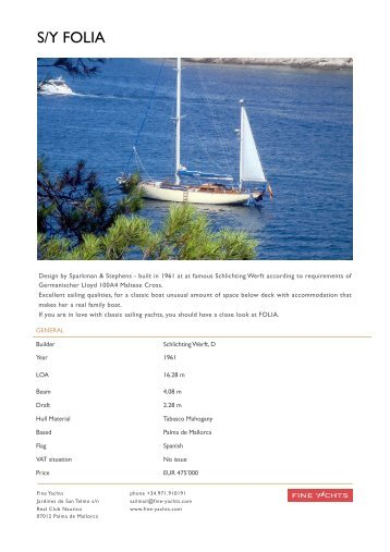 s/y folia - Fine Yachts