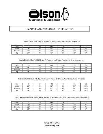 LADIES GARMENT SIZING –2011-2012 - Olson Curling Supplies