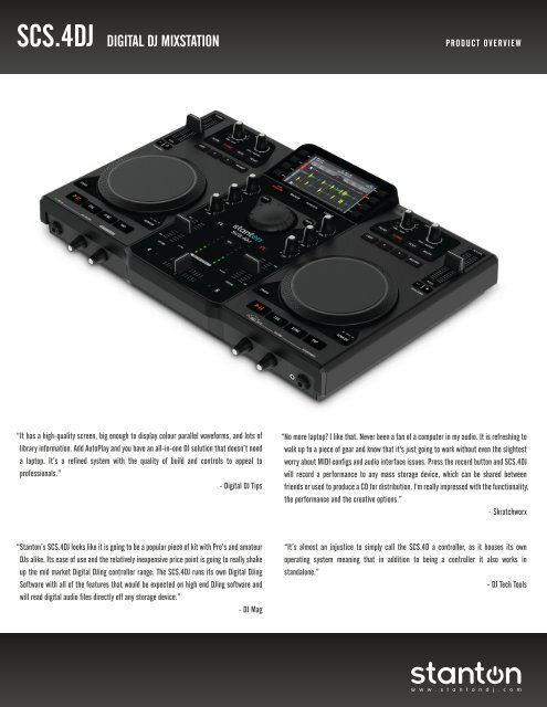 Stanton SCS 4DJ DJ Controller Manual - American Musical Supply