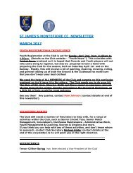 ST JAMES'S MONTEFIORE CC NEWSLETTER MARCH 2017