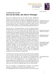 Das Van-de-Velde- Jahr 2013 in Thüringen