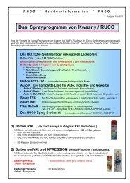 Das Sprayprogramm von Kwasny / RUCO