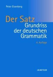 Der Satz - Grundriss der deutschen Grammatik, Peter Eisenberg