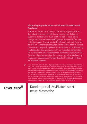 Kundenportal 'MyPilatus' setzt neue Massstäbe - Advellence