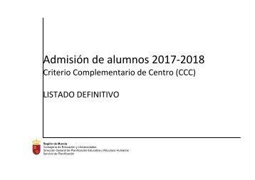 Admisión de alumnos 2017-2018