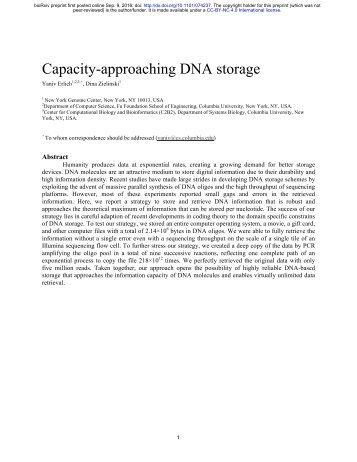 Capacity-approaching DNA storage