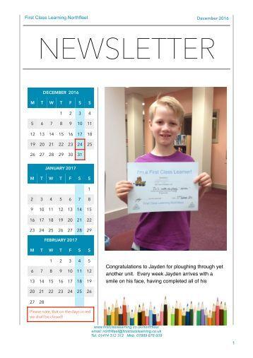 First Class Learning Northfleet - Newsletter 1612