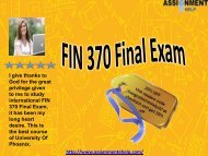 Final Exam Answers for fin 370 university of phoenix