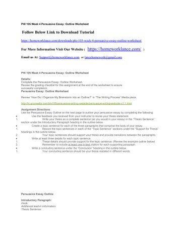 PHI 105 Week 4 Persuasive Essay Outline Worksheet