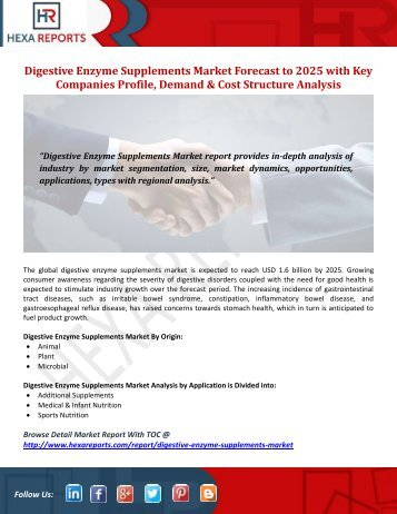 Digestive Enzyme Supplements Market Forecast to 2025 with Key Companies Profile, Demand & Cost Structure Analysis