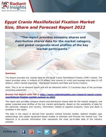 Egypt Cranio Maxillofacial Fixation Market  Analysis and Forecasts, Outlook 2022