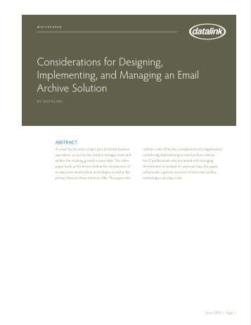 Considerations for Designing, Implementing, and Managing an ...