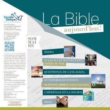 La Bible aujourd'hui ! janvier-mars 2017