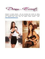 Lovely & Sexy Escorts Girls From Dream Escorts