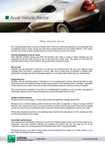Why Choose Arval