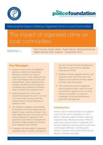 The impact of organised crime on local communities