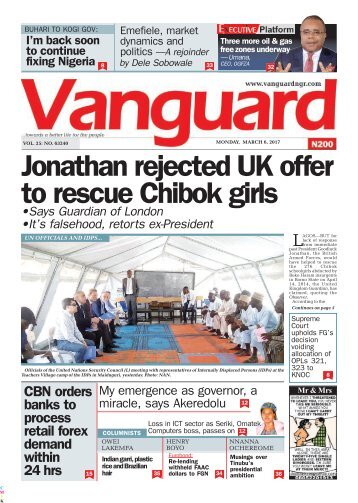 06032017 - Jonathan rejected UK offer to rescue Chibok girls