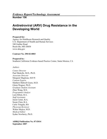 Antiretroviral (ARV) Drug Resistance in the Developing World ...