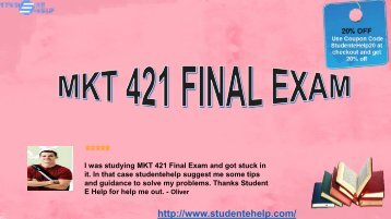 UOP MKT 421 Final Exam Answers for questions of Marketing Research Paper